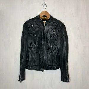 Escada Multi Zipper Moto Style Leather Jacket 36